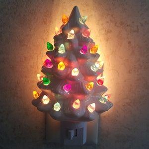 White Ceramic Christmas Tree Night Light